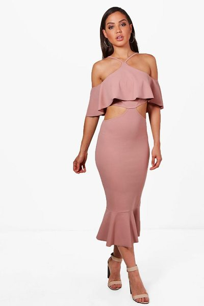 Boohoo Ash Strappy Frill Detail Cut Out Midi Dress in rose