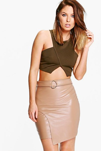 Boohoo Asha D Ring Leather Look Mini Skirt in tan - Skirts are the statement separate in every wardrobe This...