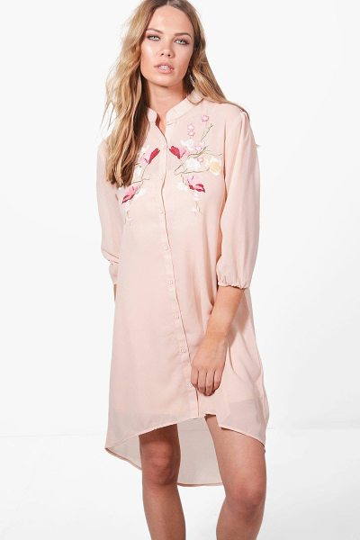 Boohoo Ashley Boutique Floral Embroidered Dress in nude - Elevate your office look with a chic shirt dress. Think...