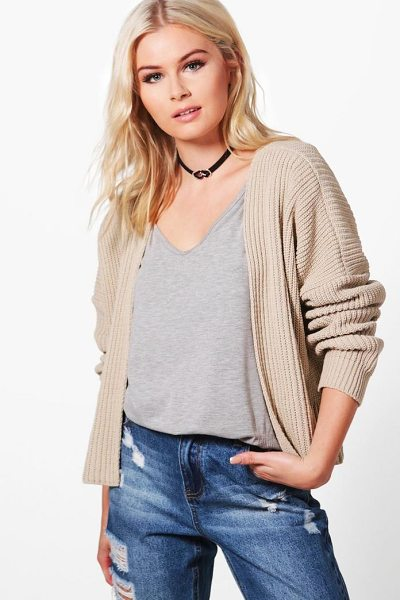 Boohoo Oversized Rib Crop Cardigan in stone