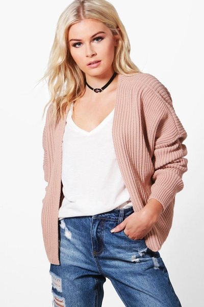 Boohoo Oversized Rib Cropped Cardigan in nude - Nail new season knitwear in the jumpers and cardigans...