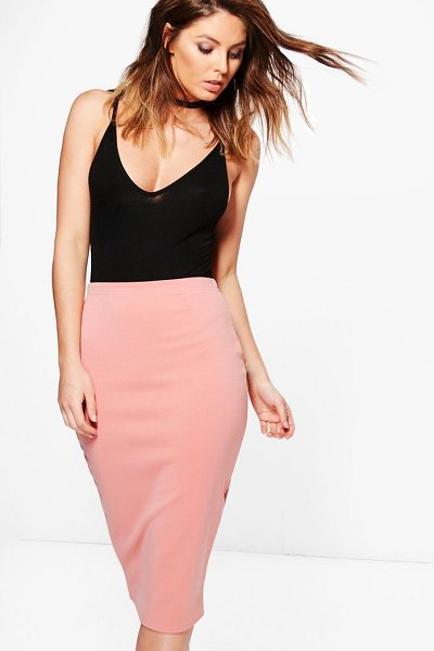 Boohoo Astaria Scuba Basic Midi Skirt in nude - Midi skirts are this season's hottest must-have staple...