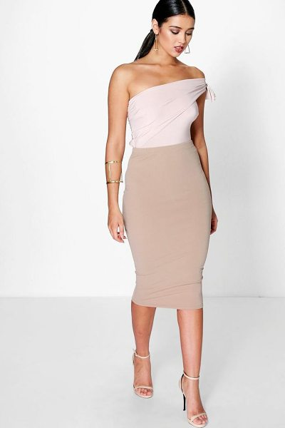 Boohoo Astria Basic Scuba Midi Skirt in sand - Skirts are the statement separate in every wardrobe This...