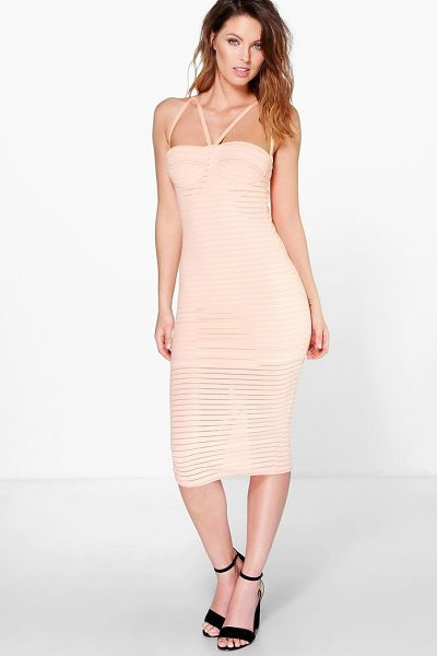 Boohoo Astrid Rib Mesh Panel Strappy Midi Dress in apricot - Dresses are the most-wanted wardrobe item for...