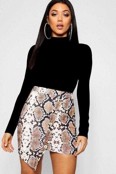Boohoo Asymmetric Gold Button Snake Print Mini Skirt in tan - Skirts are the statement separate in every wardrobe This...