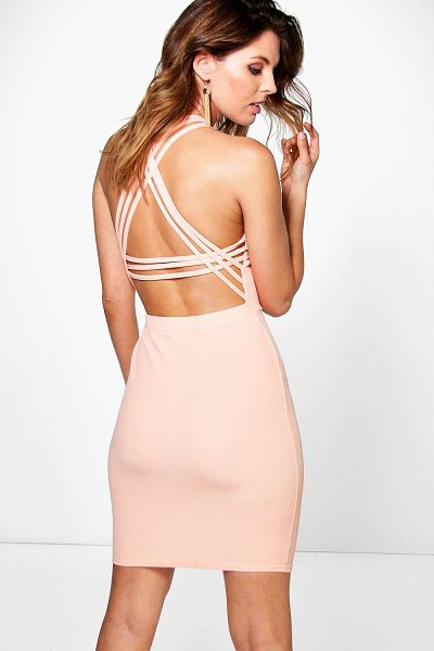 Boohoo Aubrey Strappy Back Detail Bodycon Dress in apricot - Get dance floor-ready in an entrance-making evening...