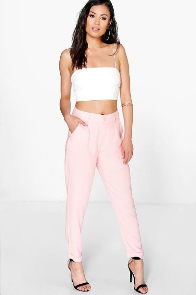 Boohoo Audrey Chino Style Woven Trousers in blush - Trousers are a more sophisticated alternative to...