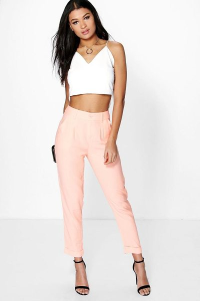 Boohoo Chino Style Woven Trousers in blush - Trousers are a more sophisticated alternative to...