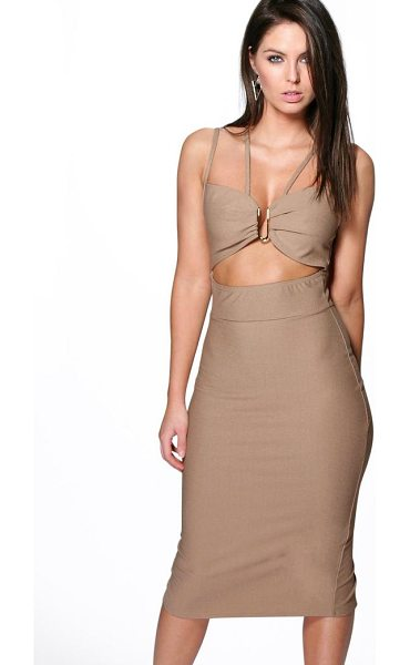 Boohoo Audrey Strappy Trim Detail Midi Dress in sand - Dresses are the most-wanted wardrobe item for...