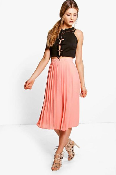 Boohoo Aura Chiffon Pleated Midi Skirt in sugar coral - Skirts are the statement separate in every wardrobe This...