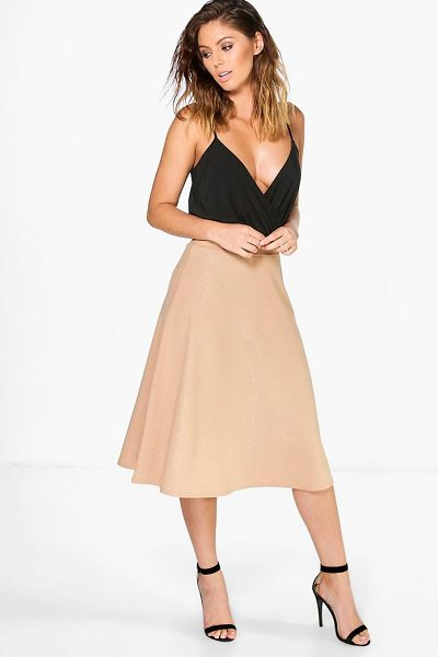 Boohoo Aura Metallic Crepe Full Midi Skirt in sand - Skirts are the statement separate in every wardrobe This...