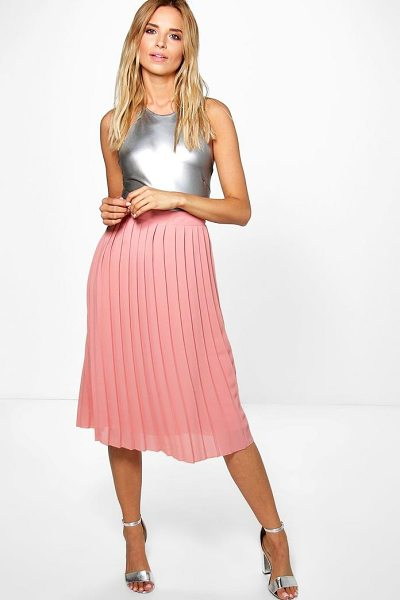 Boohoo Aura Pleated Chiffon Midi Skirt in blush - Skirts are the statement separate in every wardrobe This...