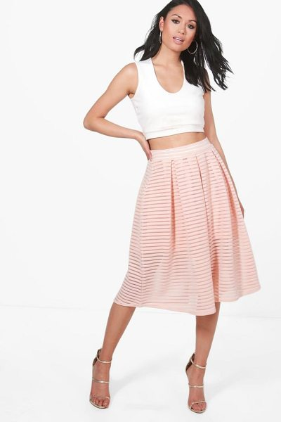 Boohoo Aura Sheer Mesh Stripe Box Pleat Skater Skirt in nude - Skirts are the statement separate in every wardrobe This...
