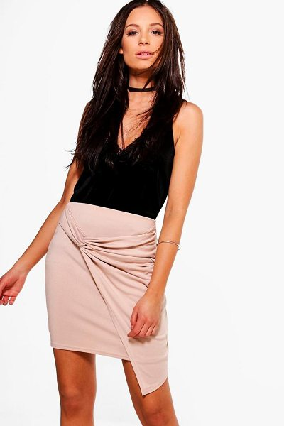 Boohoo Aurellia Rouched Side Mini Skirt in sand - Skirts are the statement separate in every wardrobe This...