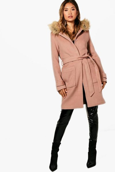 BOOHOO Ava Belted Faux Fur Trim Hood Coat - Wrap up in the latest coats and jackets and get...