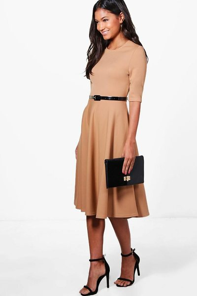 Boohoo Ava Belted Midi Skater Dress in camel - Dresses are the most-wanted wardrobe item for...
