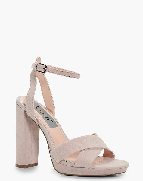 Boohoo Ava Cross Front Platform Two Part in nude - We'll make sure your shoes keep you one stylish step...
