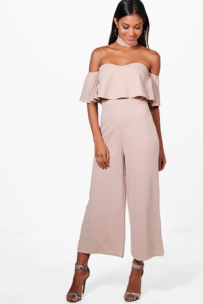Boohoo Off The Shoulder Ruffle Culotte Jumpsuit in beige - Jump start your new season wardrobe with the always chic...