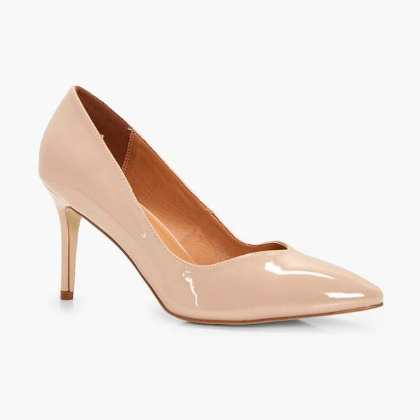 Boohoo Ava Pointed Toe V Cut Low Heels in nude - We'll make sure your shoes keep you one stylish step...