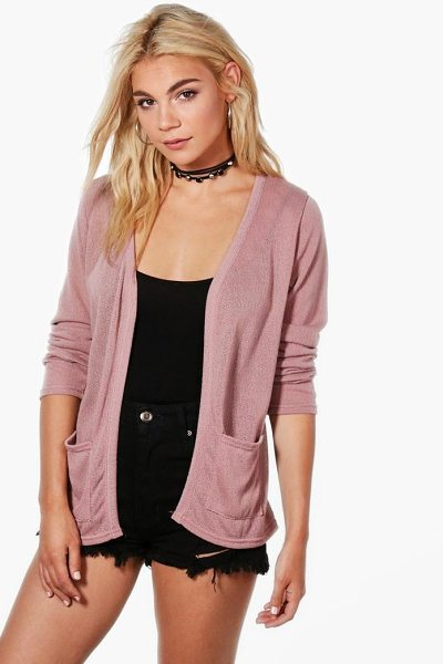 Boohoo Ava Soft Knit Edge to Edge Cardigan With Pockets in blush - Nail new season knitwear in the jumpers and cardigans...