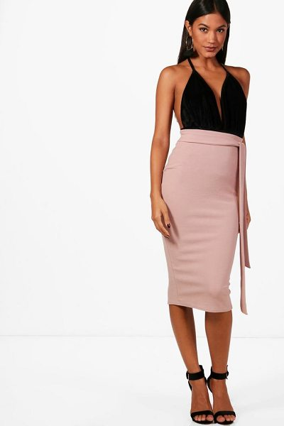 BOOHOO Ava Tie Waist Crepe Bodycon Midi Skirt - Skirts are the statement separate in every wardrobe This...