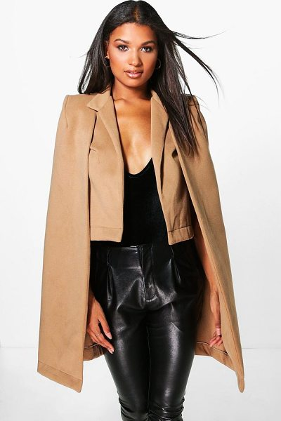 Boohoo Ava Wool Look Cape Coat in camel - Wrap up in the latest coats and jackets and get...