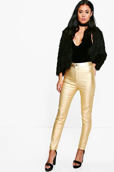 Boohoo Avah Metallic Coated Super Skinny Highwaist Trousers in gold - Trousers are a more sophisticated alternative to...