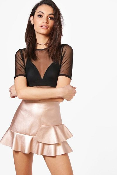 BOOHOO Avery Leather Look Drop Hem Mini Skirt - Skirts are the statement separate in every wardrobe This...