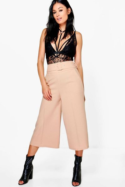 BOOHOO Ayah Deep Waistband Wide Leg Woven Culottes in sand - Trousers are a more sophisticated alternative to...