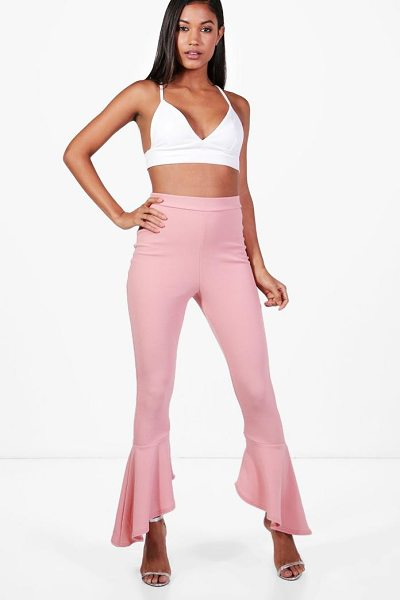 Boohoo Ayla Crepe Dipped Ruffle Hem Trousers in rose - Trousers are a more sophisticated alternative to...