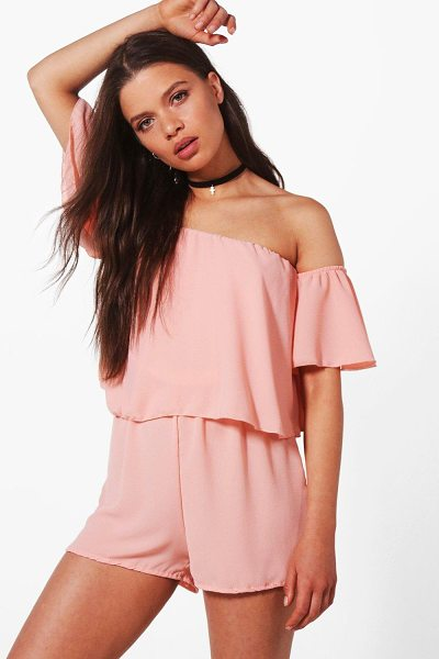 Boohoo Off shoulder Ruffle Sleeve Playsuit in pink - If you need a short cut to a killer outfit, the playsuit...