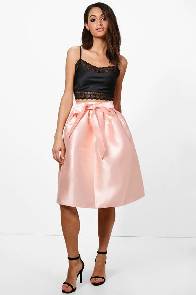 Boohoo Azaria Bow Front Woven Box Pleat Midi Skirt in blush - Skirts are the statement separate in every wardrobe This...
