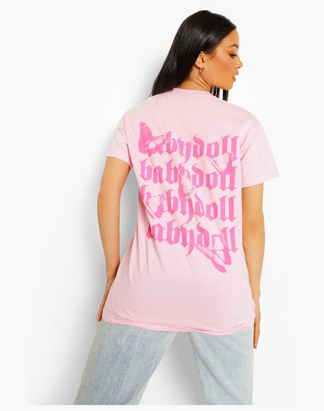 Boohoo Baby Doll Oversized Back Print T Shirt in pale pink