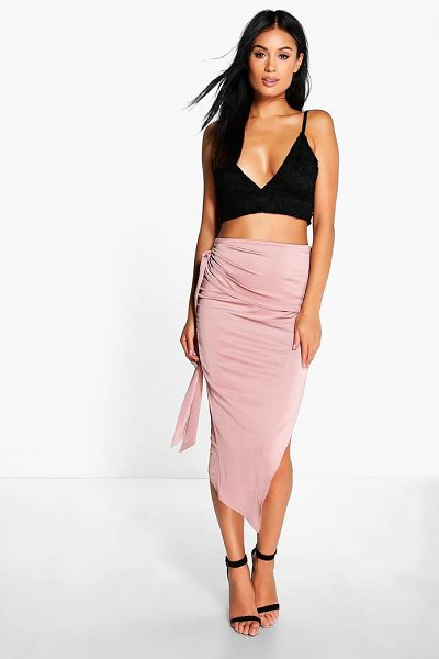Boohoo Baha Tie Side Asymetric Midi Skirt in mocha - Swap your skinnies for a skirt and do something...