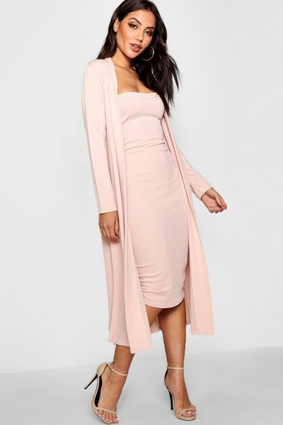 Boohoo Bandeau Dress & Duster Two-Piece Set in blush