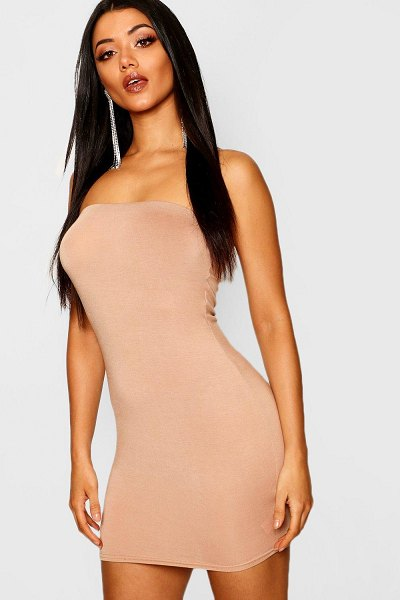 Boohoo Bandeau Jersey Bodycon Dress in toffee