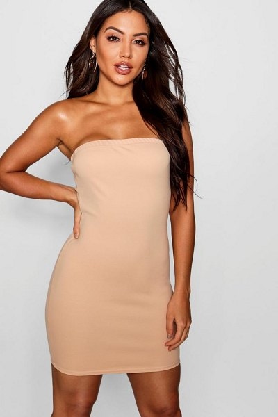 Boohoo Bandeau Mini Dress in stone