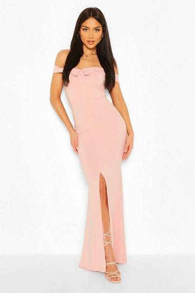 Boohoo Off The Shoulder Split Front Maxi Dress in soft pink