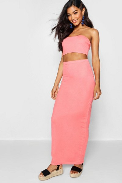 Boohoo Basic Jersey Maxi Skirt in coral