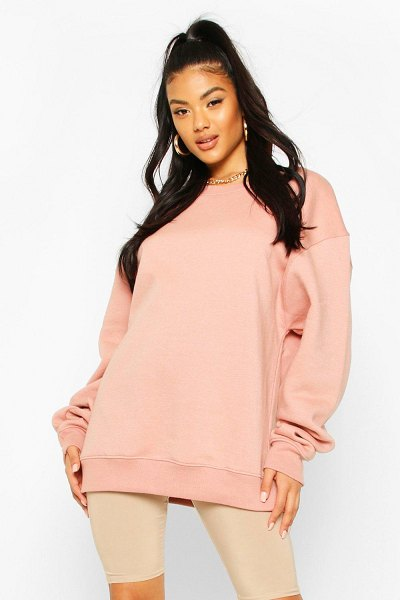 Boohoo Basic Oversized Sweatshirt in dusty rose
