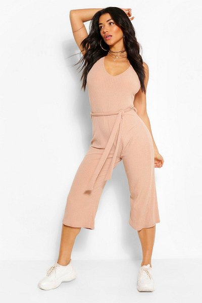 Boohoo Basic Ribbed Culotte Jumpsuit in stone