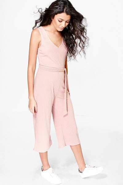 Boohoo Basic Ribbed Culotte Jumpsuit in blush