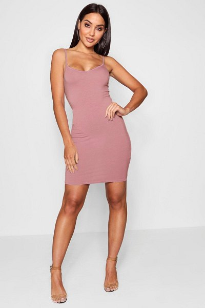 Boohoo Basic Strappy Cami Bodycon Dress in antique rose
