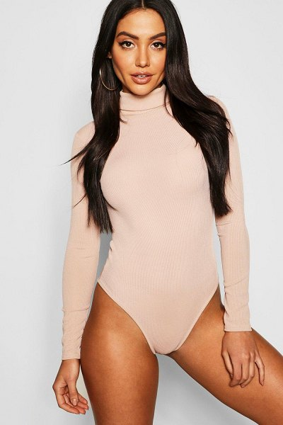 Boohoo Basic Turtle Neck Rib Long Sleeve one piece in sand
