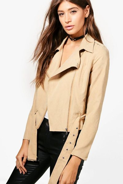Boohoo Bea Belted Suedette Biker in camel - Wrap up in the latest coats and jackets and get...