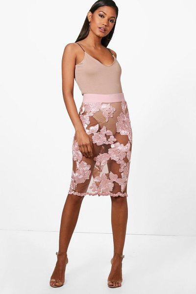 Boohoo Bea Boutique Mesh Embroidered Midi Skirt in blush - Skirts are the statement separate in every wardrobe This...