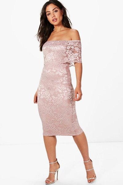 Boohoo Lace Off Shoulder Midi Dress in rose - Dresses are the most-wanted wardrobe item for...