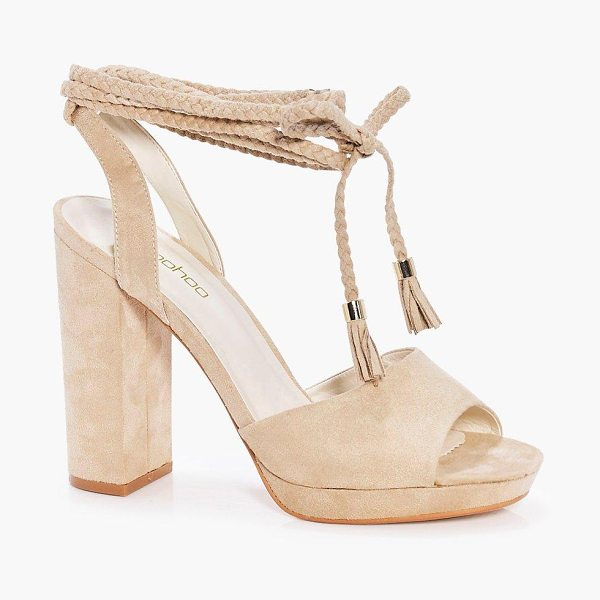 Boohoo Beatrice Plaited Wrap Strap Platform Heels in khaki - We'll make sure your shoes keep you one stylish step...