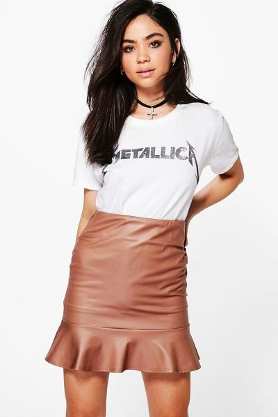 Boohoo Beau Leather Look Peplum Mini Skirt in sand - Skirts are the statement separate in every wardrobe This...