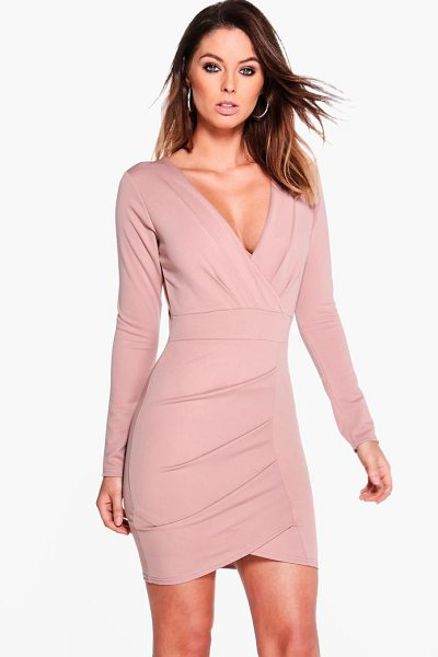 Boohoo Pleat Detail Wrap Bodycon Dress in rose - Dresses are the most-wanted wardrobe item for...